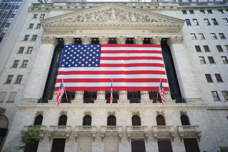 NY Stock Exchange, New York City Finance District New York City Travel US Flag Building Finance And Economy New York Stock Exchange  Stars And Stripes Stocks Travel Destinations