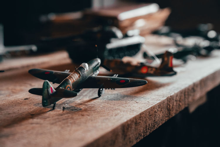Close-up of model airplane on table