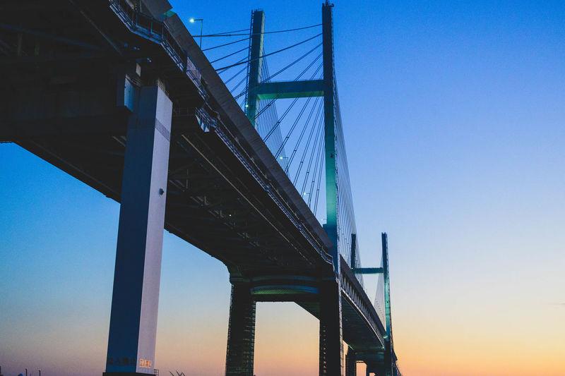 Yokohama Baybridge Built Structure Sky Architecture Bridge Transportation Connection Bridge - Man Made Structure Sea Bay Urban Blue