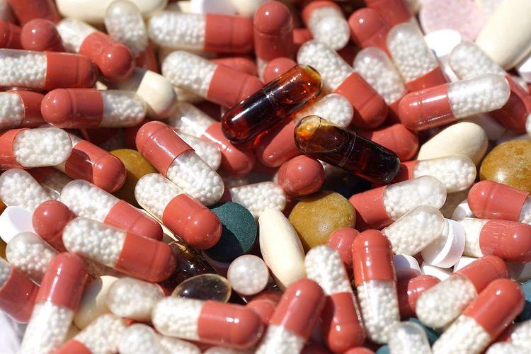 Full frame shot of capsules and pills