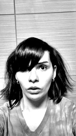 Girl Gasp Boo Scared Surprised Wide Eyes Pony Tails Portrait Front View One Person Indoors  Close-up Looking At Camera People Blackandwhite Face