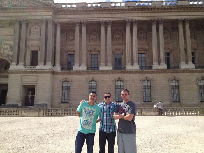 the guys in front of the louve