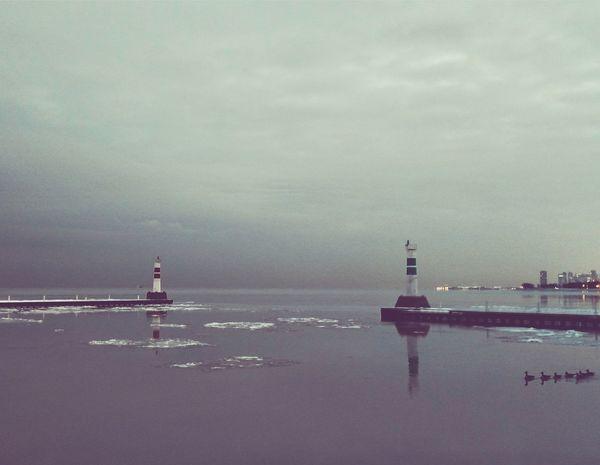 Chicago Lake Michigan Winter Lighthouse Pathway Dusk Winter Sunset Solitude