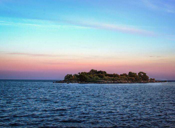 Island Island Sunset Silhouettes Ocean View Coast Ocean Colorful