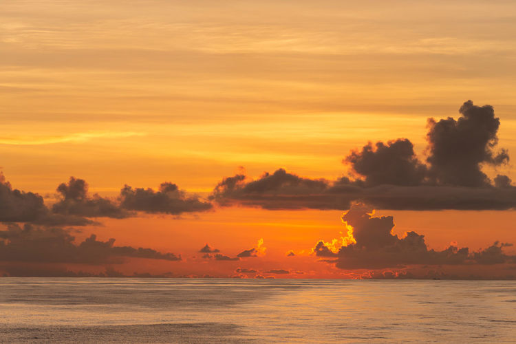After sunset Sunset Sky Orange Color Cloud - Sky Scenics - Nature Tranquility Water Sea Horizon No People Nature Dramatic Sky Clouds Dusk