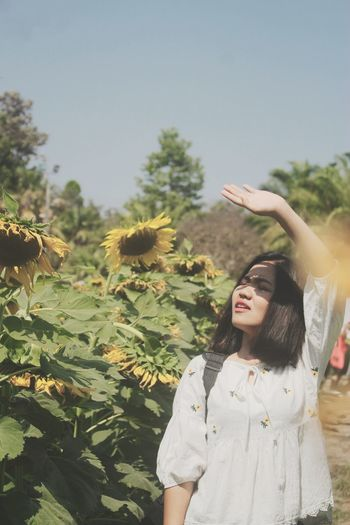 Woman standing by blooming sunflowers in sunny day