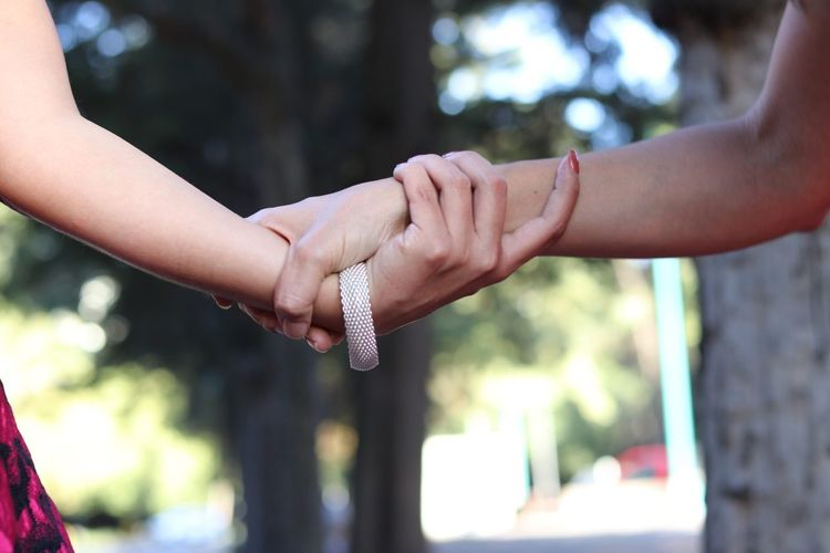 Cropped image of lesbian couple holding hands against trees