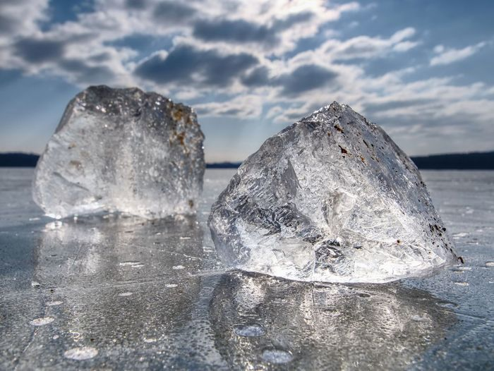 Shining broken ice. it beautifully shimmers the sun's rays, plays light and glare