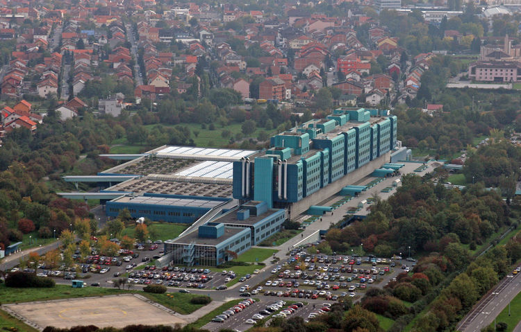 Clinical hospital Dubrava on October 09, 2007 in Zagreb Croatia. Aerial View Ambulance Architecture Building Exterior Built Structure Care City Cityscape Clinic Croatia Dubrava Health Hospital Hospital House Medical Medicine Modern New Road Street Trauma Urban Urgency Zagreb