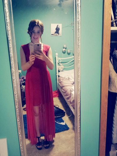 My dress from deb night Red Dress My Face I'm Short