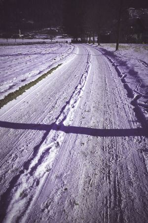 Snow Nature Shadow Beauty In Nature Landscape Cold Temperature Field Pattern Sunlight Outdoors Tire Track Winter Agriculture Scenics No People Day The Way Forward Path Path In Nature Country Country Road Tracks In The Snow Tracks In Snow