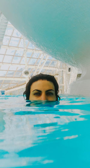EyeEm EyeEm Best Shots EyeEm Selects EyeEm Gallery Day Front View Headshot Human Face Leisure Activity Lifestyles Looking At Camera Nature One Person Outdoors Pool Portrait Real People Swimming Swimming Pool Turquoise Colored Water Waterfront Women Young Adult Young Women