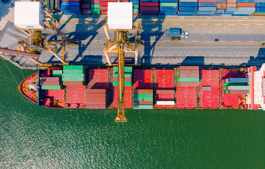 Container Drone  Aerial View Business Close-up Comercial Crane Domestic Animals Flying Freight Transportation Globle High Angle View International Landmark Logistick Mode Of Transportation Nautical Vessel Outdoors Sea Ship Shipyard Terminal Transportation Water