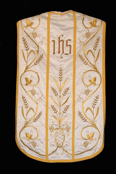 Golden embroidered Church vestments Art And Craft Belief Catholic Ceremonial Ceremony Chasuble Christian Christianity Church Clothing Embroidered Embroidery Faith Gold Golden Ihs Old Religion Religious  Sacred Symbol Symbolic  Worship