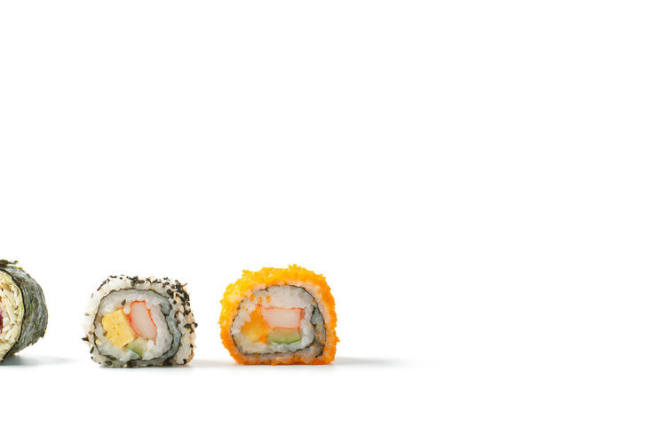 Studio Shot Food And Drink White Background Copy Space Food Freshness Ready-to-eat Indoors  Still Life Healthy Eating No People Wellbeing Indulgence Close-up Sushi Seafood Japanese Food Asian Food Rice Temptation Snack