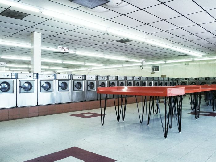 View of laundromat