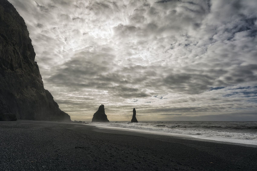 Landscape in Iceland Beach Beauty In Nature Calm Cloud Cloud - Sky Cloudy Coastline Day Dramatic Sky Horizon Over Water Idyllic Nature Non-urban Scene Outdoors Overcast Remote Scenics Sea Shore Sky Tranquil Scene Tranquility Vacations Water Weather