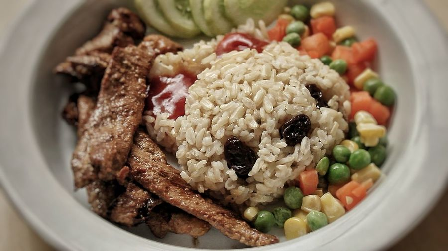 Grill pork with brown rice... Healthy Eating Plate Rice - Food Staple No People Close-up Food Ready-to-eat Freshness Day Pork Rice