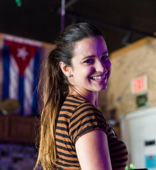Smiling Girl happy Cuban Flag Sister