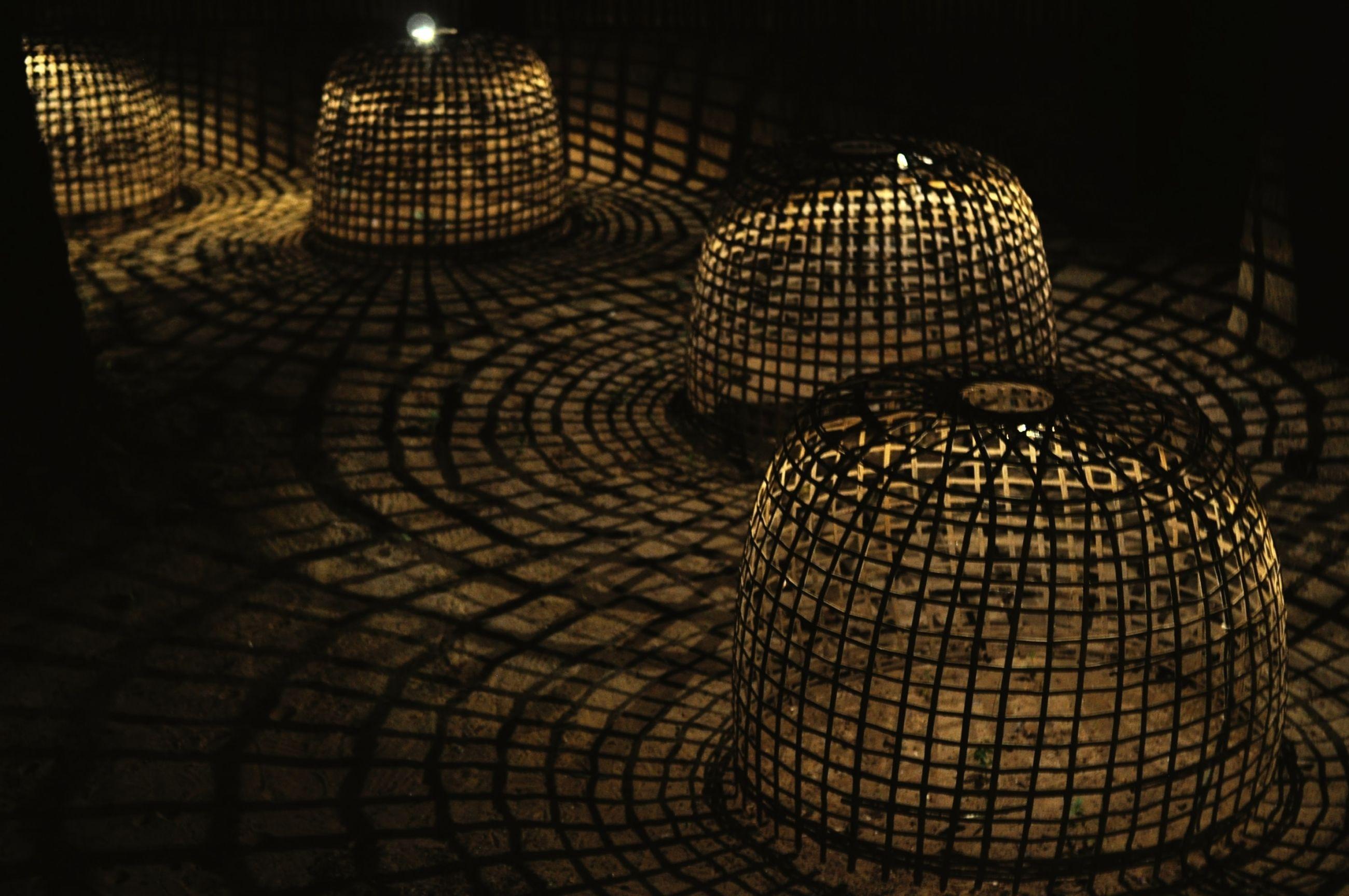 darkness, lighting, no people, light, pattern, night, illuminated, architecture, circle, reflection, indoors