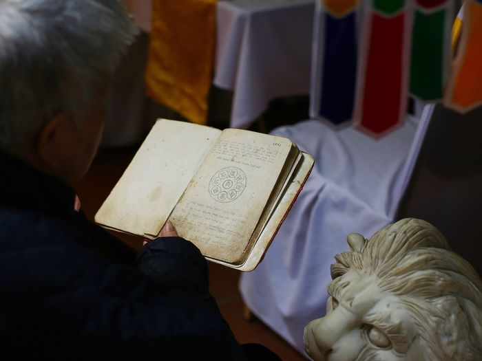 Cropped image of man reading book by lion statue in buddhist temple