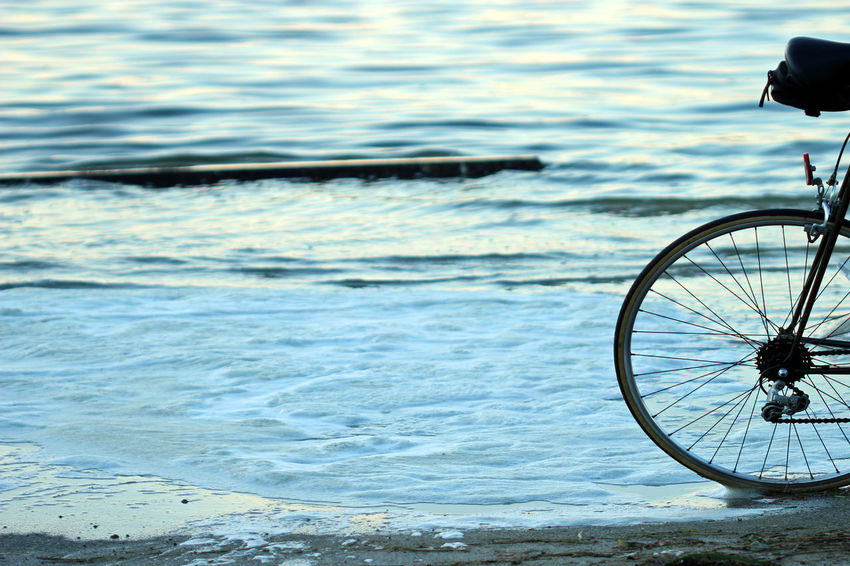 Beach mode Beach Beach Front Beach Life Bicycle Evening Exercise Frame Land Vehicle Leisure Activity Mode Of Transport Nature No People Outdoors Recreation  Sand Sea Stationary Summer Tire Transportation Travel Tropical Vacation Water Wheel
