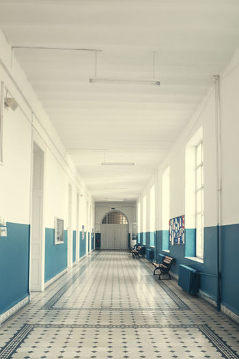 Architecture Empty Built Structure Building Flooring Indoors  The Way Forward Arcade Corridor Direction No People Window Day Ceiling Absence Tiled Floor Tile Entrance Door Long