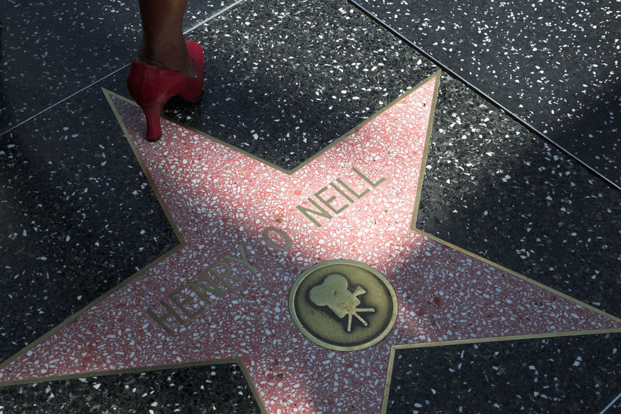 Henry O'Neill star on Hollywood Boulevard, Los Angeles, California, and red female shoe America American California Celebrity Cinema Cinematography Famous Famous People Female Ground Henry O Neill Hollywood Hollywood Blvd MOVIE Movies Pavement Red Shadow Shoe Star Sunny Sunny Day United States Urban Walkway California Dreamin