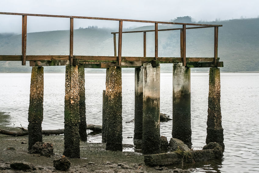 Jetty Beach Bridge - Man Made Structure Day Garden Route Jetty Knysna Knysna Lagoon Lagoon Low Tide No People Outdoors Sand Sea Sky South Africa Tranquility Water