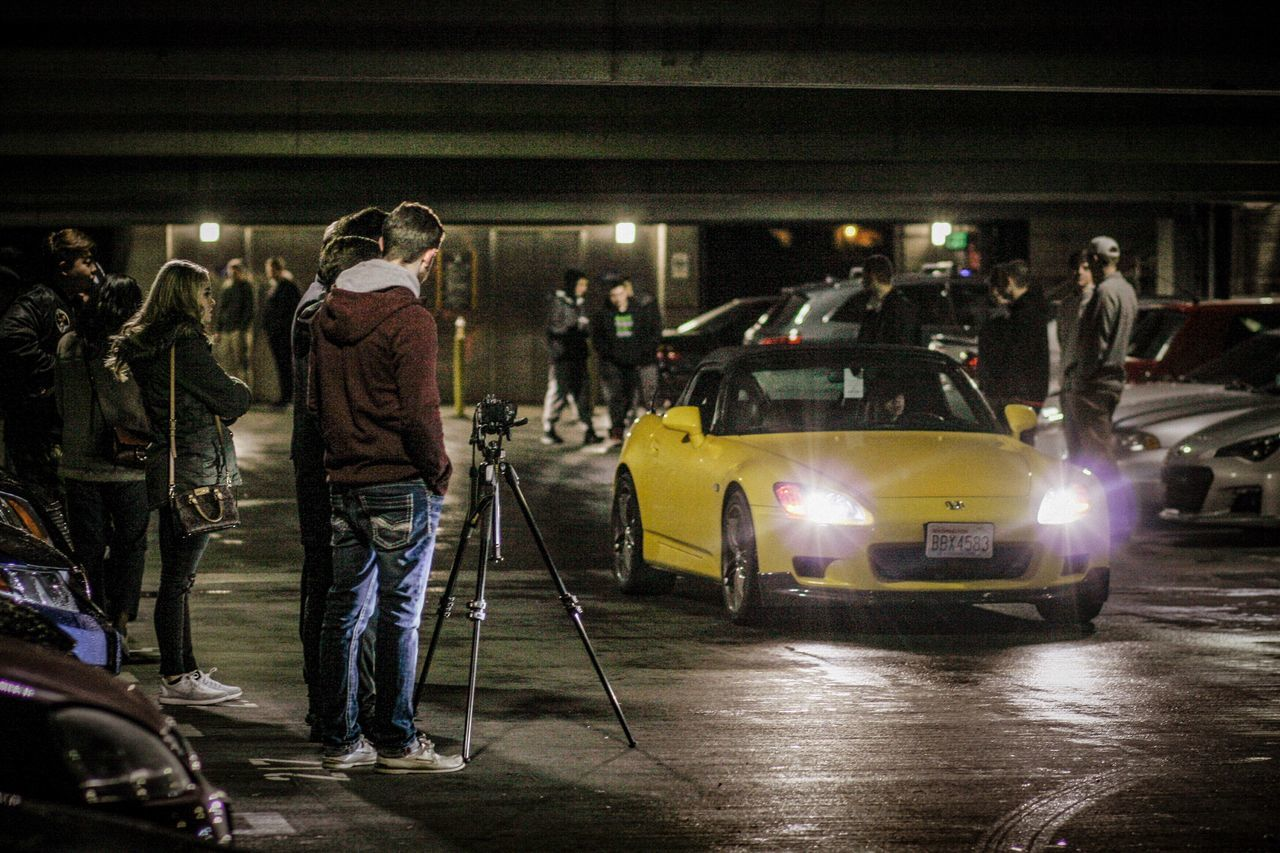 night, illuminated, standing, car, full length, people, adult, adults only, outdoors, one person