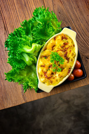 macaroni and cheese homemade food Breakfast Close-up Cutting Board Day Directly Above Egg Food Food And Drink Freshness Green Color Healthy Eating High Angle View Indoors  No People Ready-to-eat Table Vegetable Wood - Material