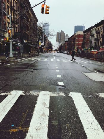 Street in New York Newyork Road Marking Architecture Zebra Crossing Road City Street Transportation Guidance Road Sign Day The Way Forward No People Outdoors Stoplight Built Structure Building Exterior City Street