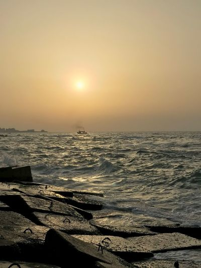 Sea Sunset Water Beach Beauty In Nature Nature Sun Shore Sand Sunlight Sky Outdoors Wave Alexandria First Eyeem Photo Lost In The Landscape