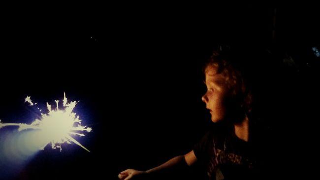 Independence Illuminated Night Celebration Child Sparkler Glowing