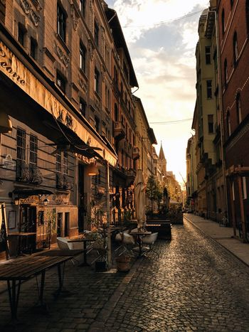 Sunrise Shadows & Lights Architecture City Cobblestone Building Exterior Travel