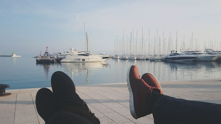 Shoe Nautical Vessel Water Foot Personal Perspective Human Body Part Leisure Activity Relaxation Outdoors Vacations Day Boat Boats⛵️ Marina Bay Sea And Sky Sea Split Croatia Winter_collection EyeEmNewHere