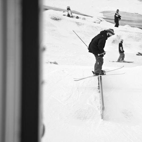 Crazy Skier Stubaital Blackandwhite Dropping