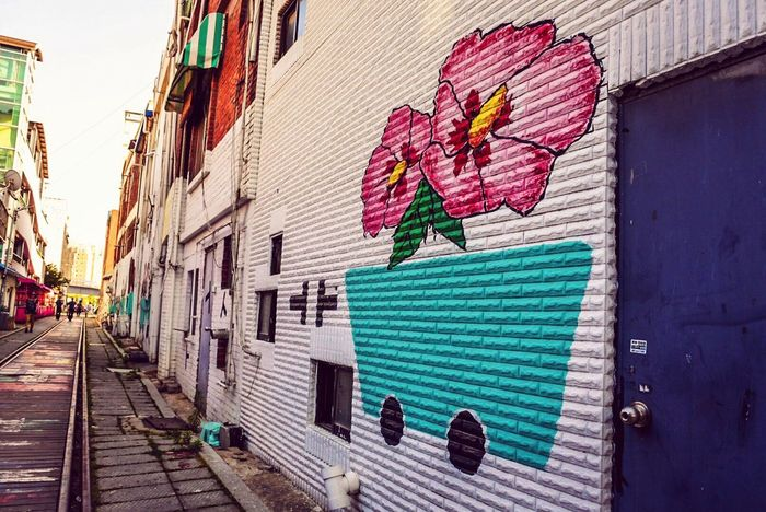 Korea Wall Mural Mural Art Architecture Building Exterior Outdoors No People Day Built Structure Multi Colored Flower J5 Camera Lightroom Walk Walking Around