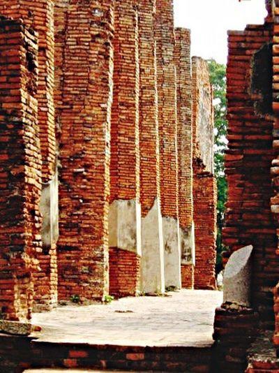Brick Columns. Brick Columns Red Bricks Pathways Travel Photography Thailand Shot By IPhone6s Plus