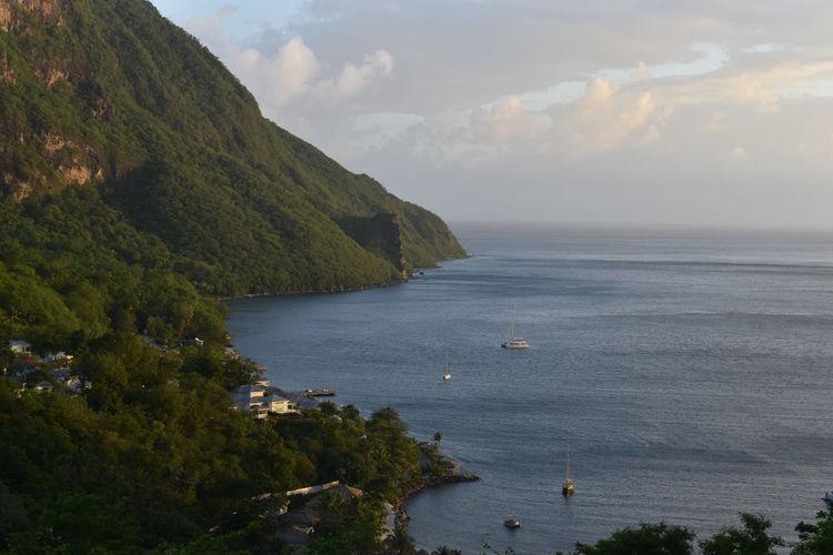Scenic mountain view of sea against sky saint lucia