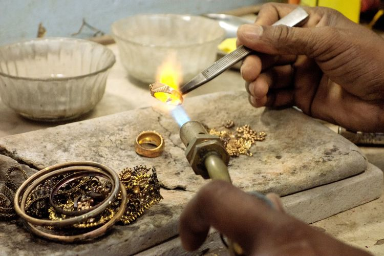 Goldsmith Working With A Unfinished Ring