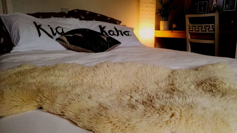 No People Bedroom Bed Architecture Nature Kia Kaha Decor Interior Design New Zealand Pride Sheepskin Rug Minimilist Bedroom Design
