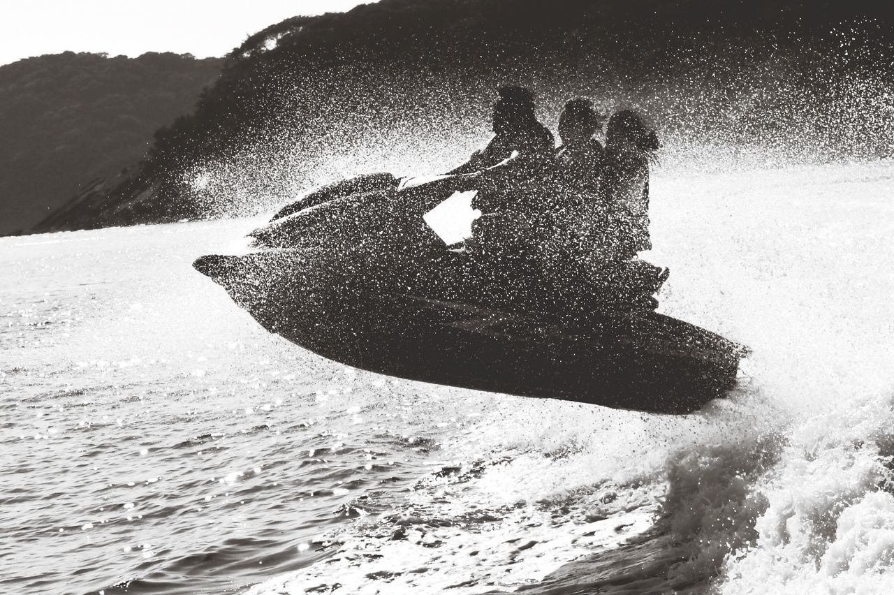 Side view of jet ski in action
