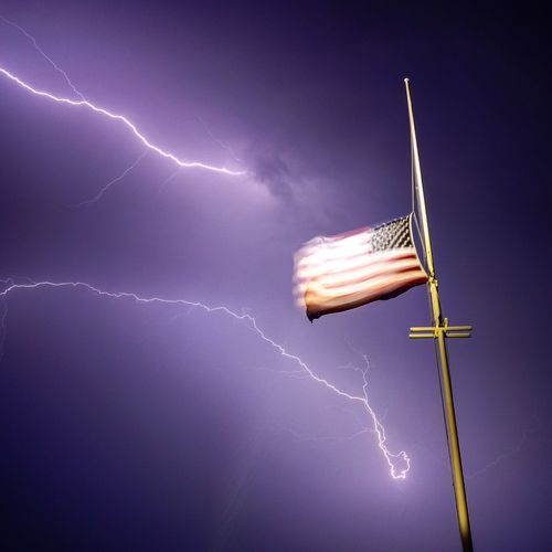 The Power and the Glory. July 23, 2016M Flag American Flag Storm Mattapoisett Nightphotography First Eyeem Photo