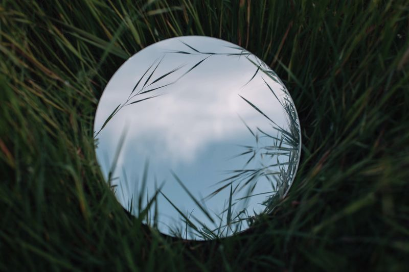 Round mirror in a grassy field reflecting a blue sky and clouds Sky Mirror Grass Plant Sphere Geometric Shape No People Nature Shape Circle Growth Design Single Object Green Color Round Land Outdoors Reflection Field Day
