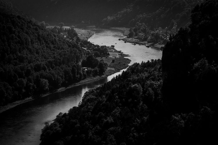 High angle view of elbe river amidst mountains