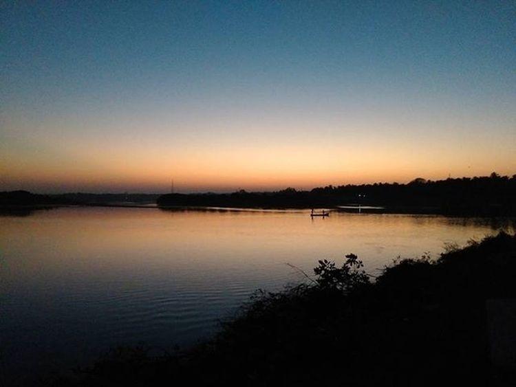 Beautiful View. Evening Sunset River Boat Anagalli Kundapura Udupi India