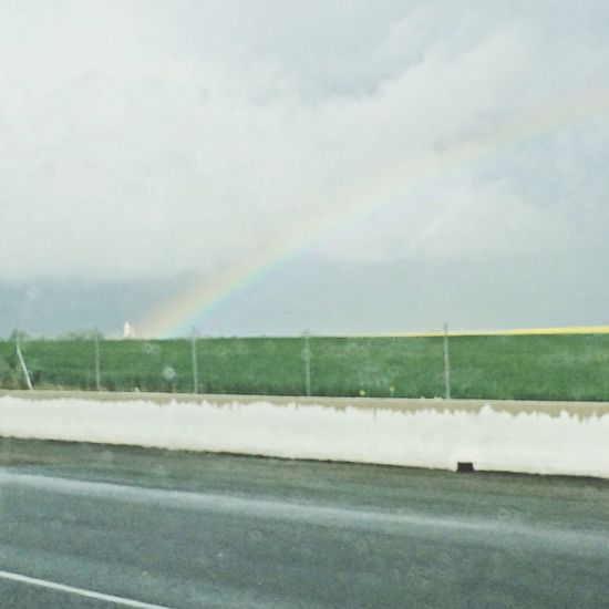 This kind of rainbow sky after the storm *-* Hello World