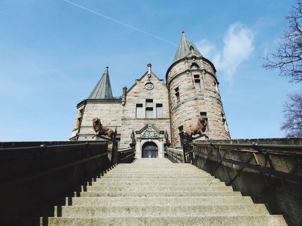 Växjö  Sweden Architecture Built Structure Building Exterior Low Angle View Place Of Worship Outdoors Day Railing Sky Steps No People Religion Staircase