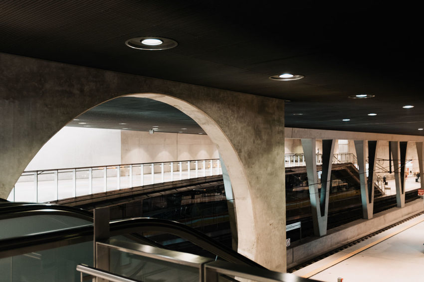 UNDERGROUND Absence Architectural Column Architecture Building Built Structure Ceiling Electric Light Empty Illuminated Indoors  Light Light Fixture Lighting Equipment Low Angle View Modern No People Railing Recessed Light Staircase Steps And Staircases Subway Station Twodayscologne